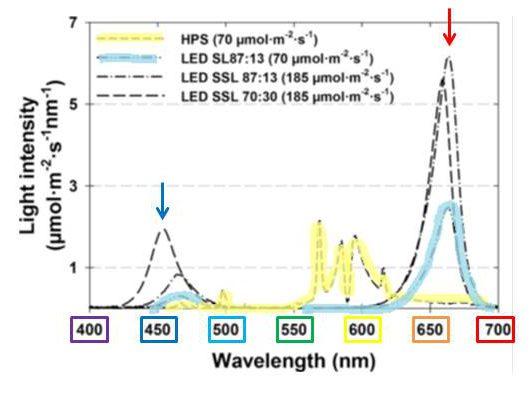 Wavelengths of light in HPS and LED supplemental lighting